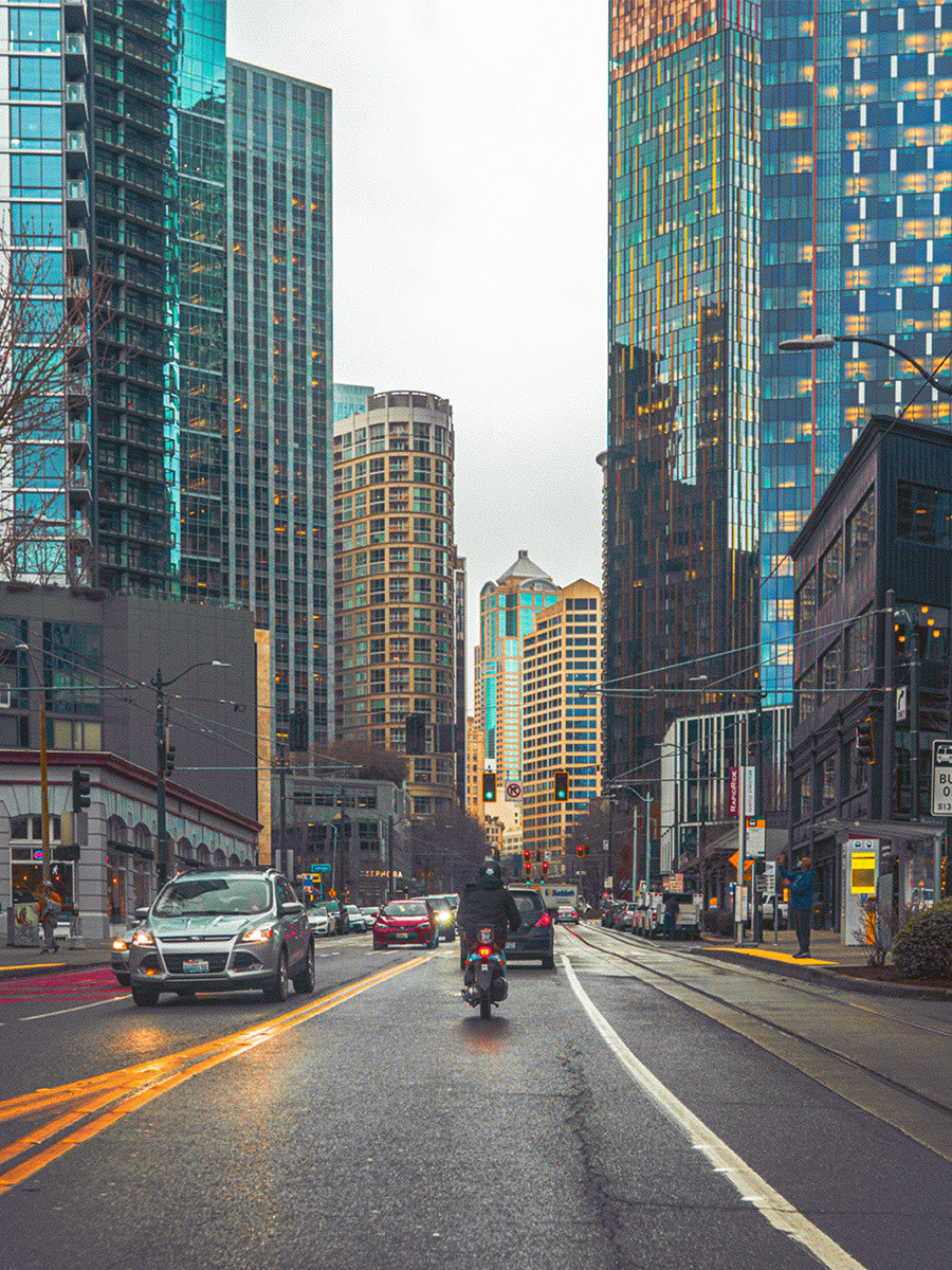 busy street in the pacific northwest of the united states